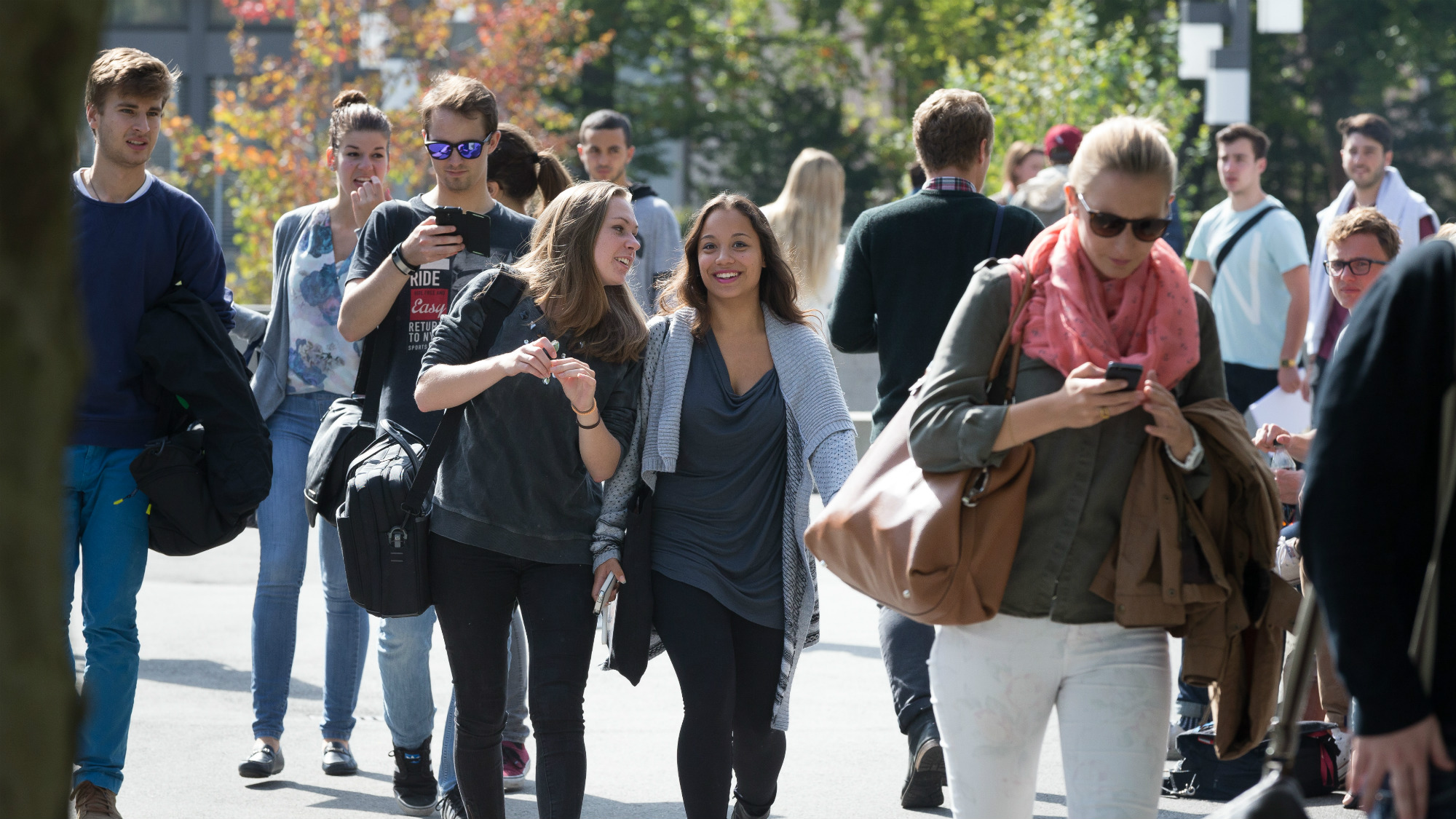 Students on their way to the University of St.Gallen (HSG)